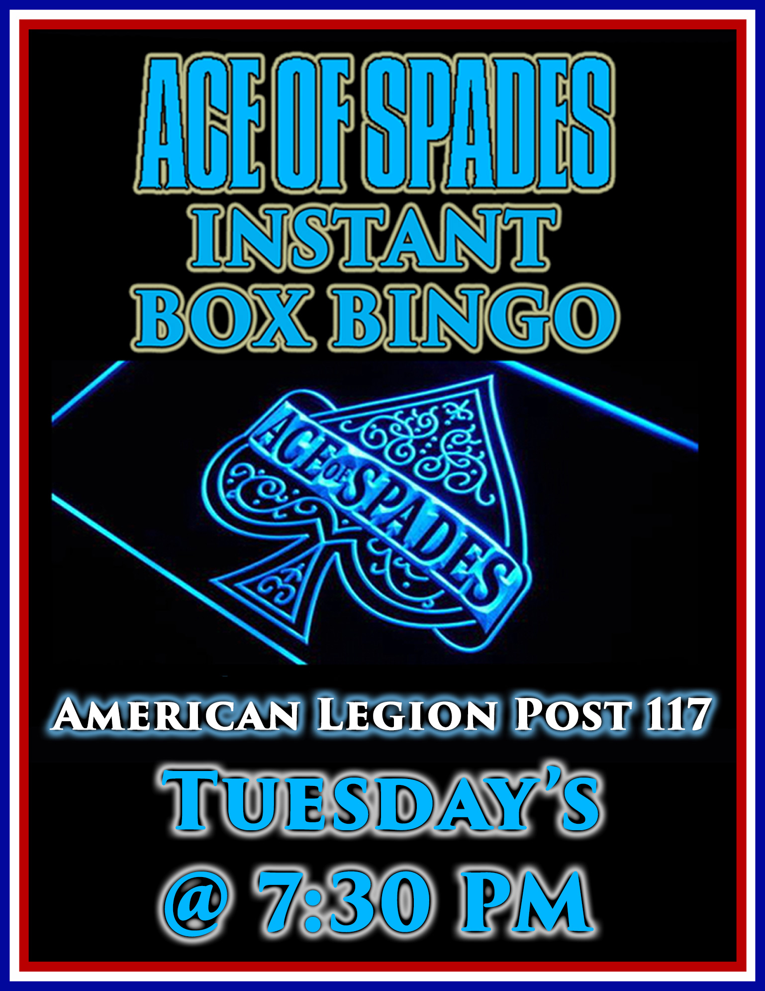 Ace Of Spades / Instant Box Bingo @ American Legion Post 117 | Palm Bay | Florida | United States