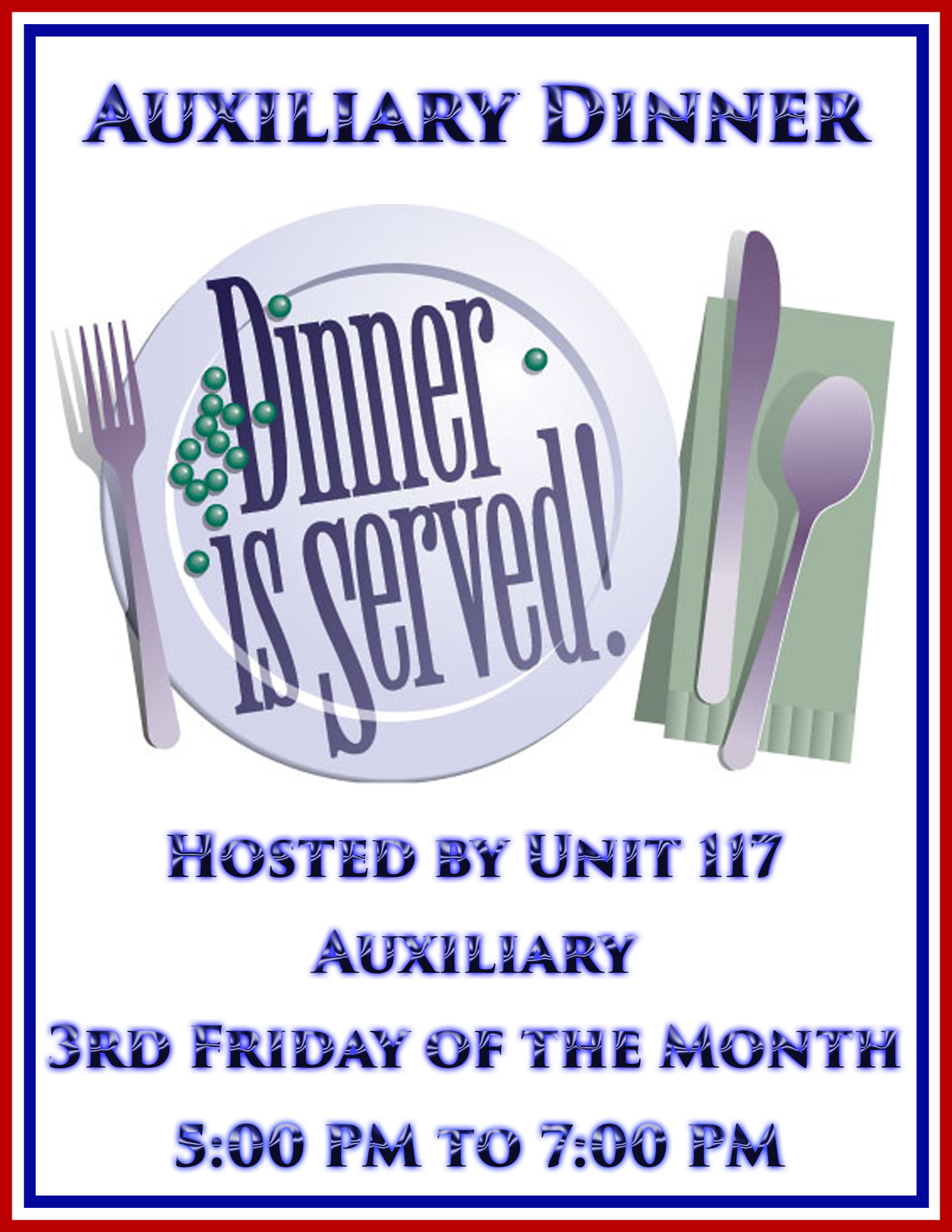 Auxiliary Dinner @ American Legion Post 117 | Palm Bay | Florida | United States