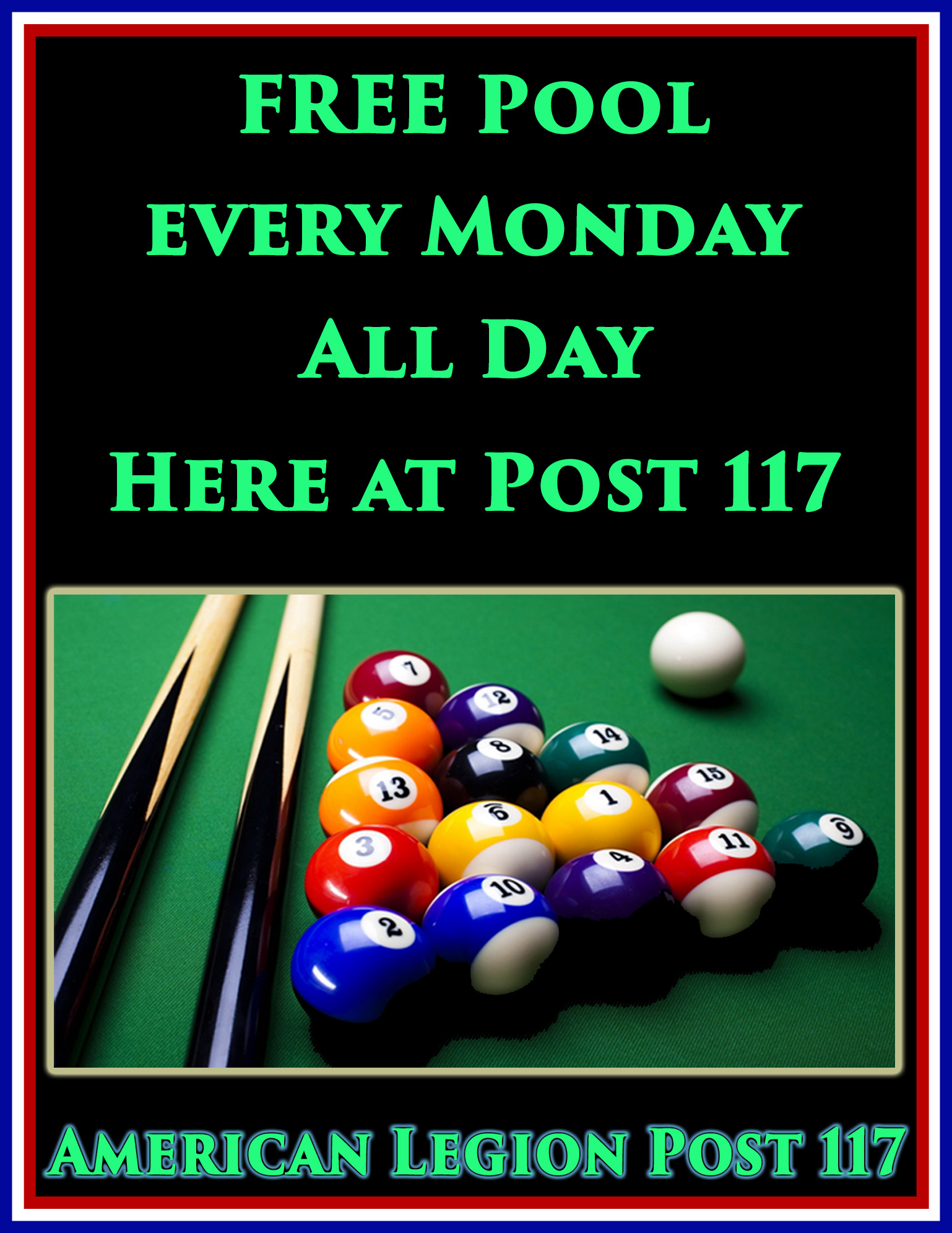 Free Pool All Day @ American Legion Post 117 | Palm Bay | Florida | United States