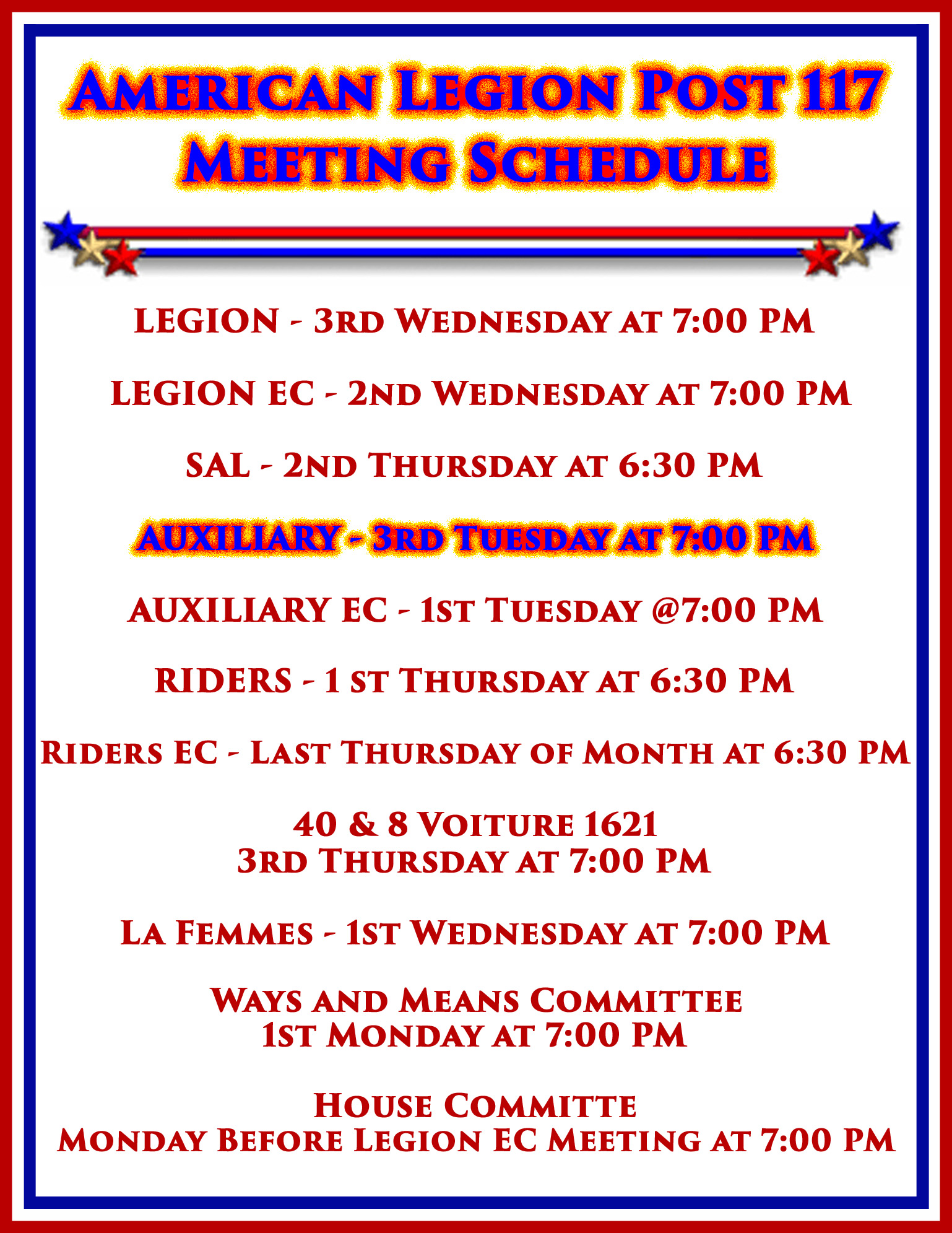 Auxiliary Meeting @ American Legion Post 117 | Palm Bay | Florida | United States