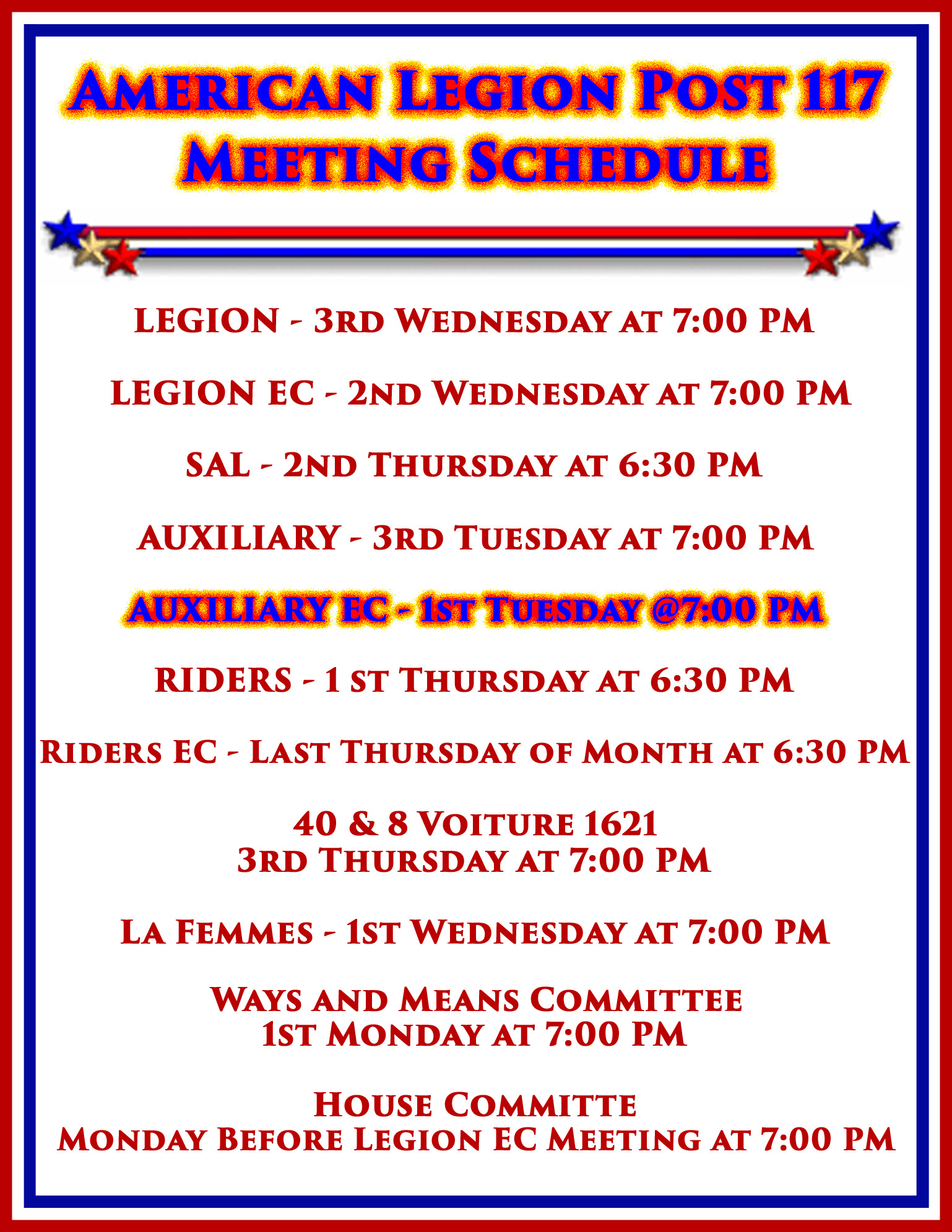 Auxiliary EC Meeting @ American Legion Post 117 | Palm Bay | Florida | United States