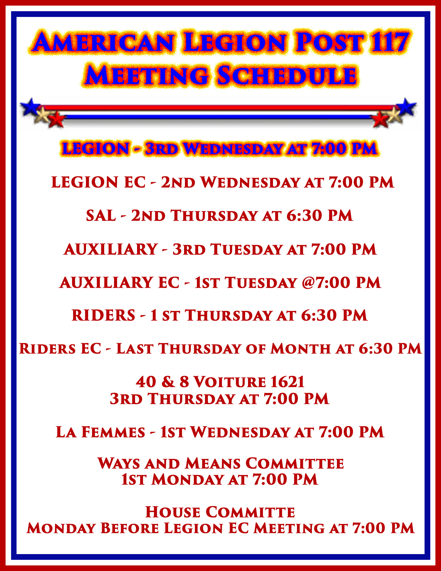 Legion Meeting @ American Legion Post 117 | Palm Bay | Florida | United States