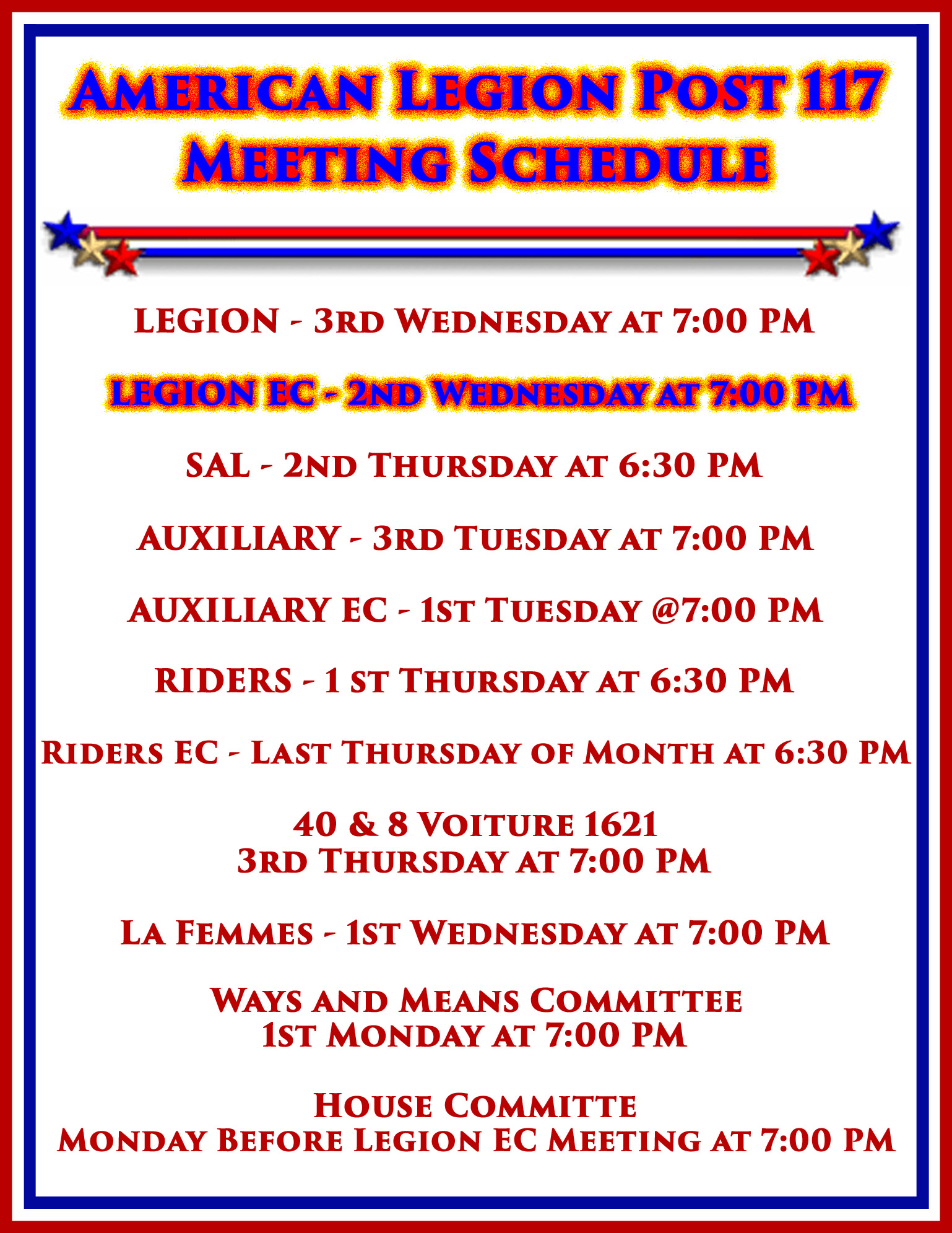 American Legion EC Meeting Schedule