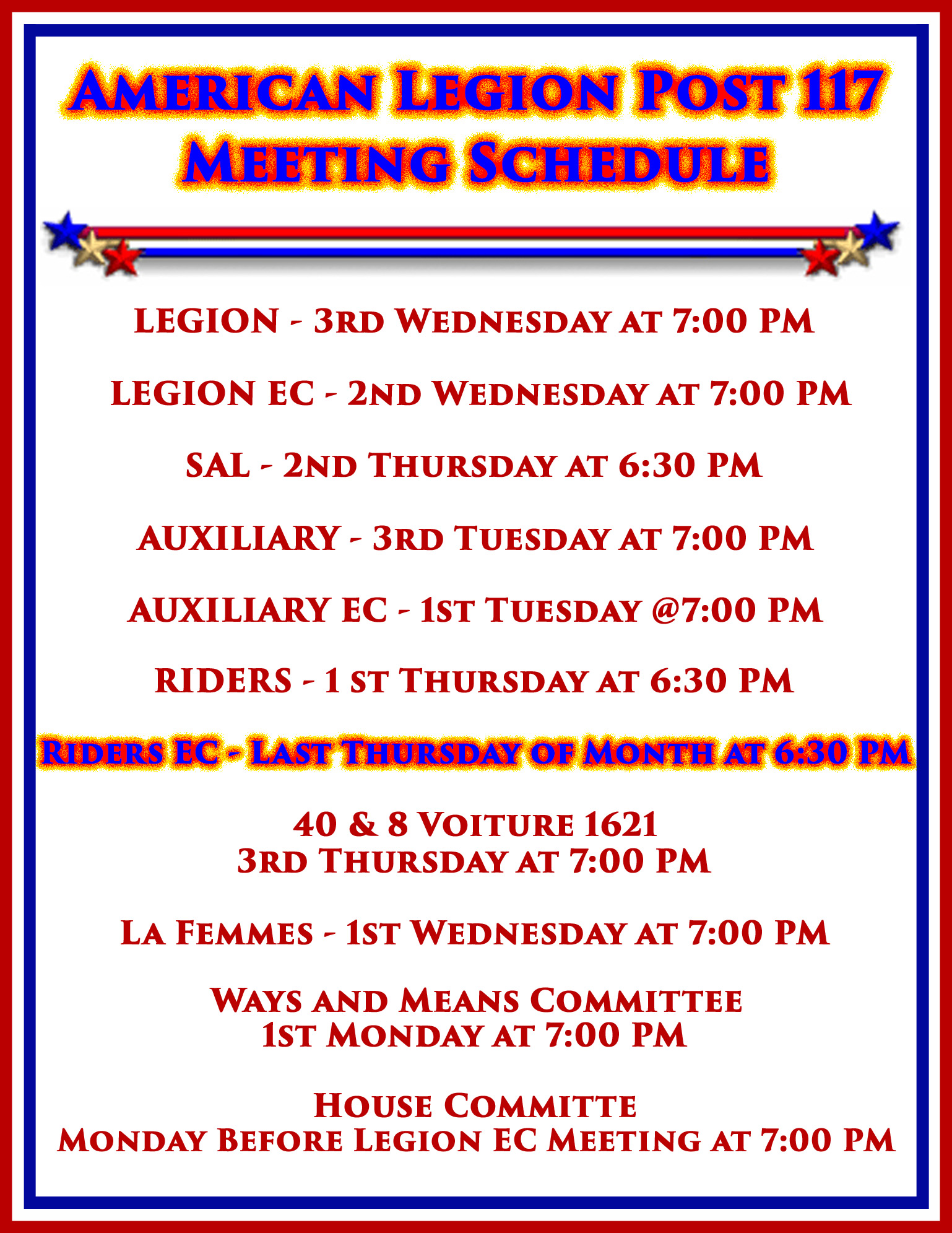 Riders  EC Meeting @ American Legion Post 117 | Palm Bay | Florida | United States