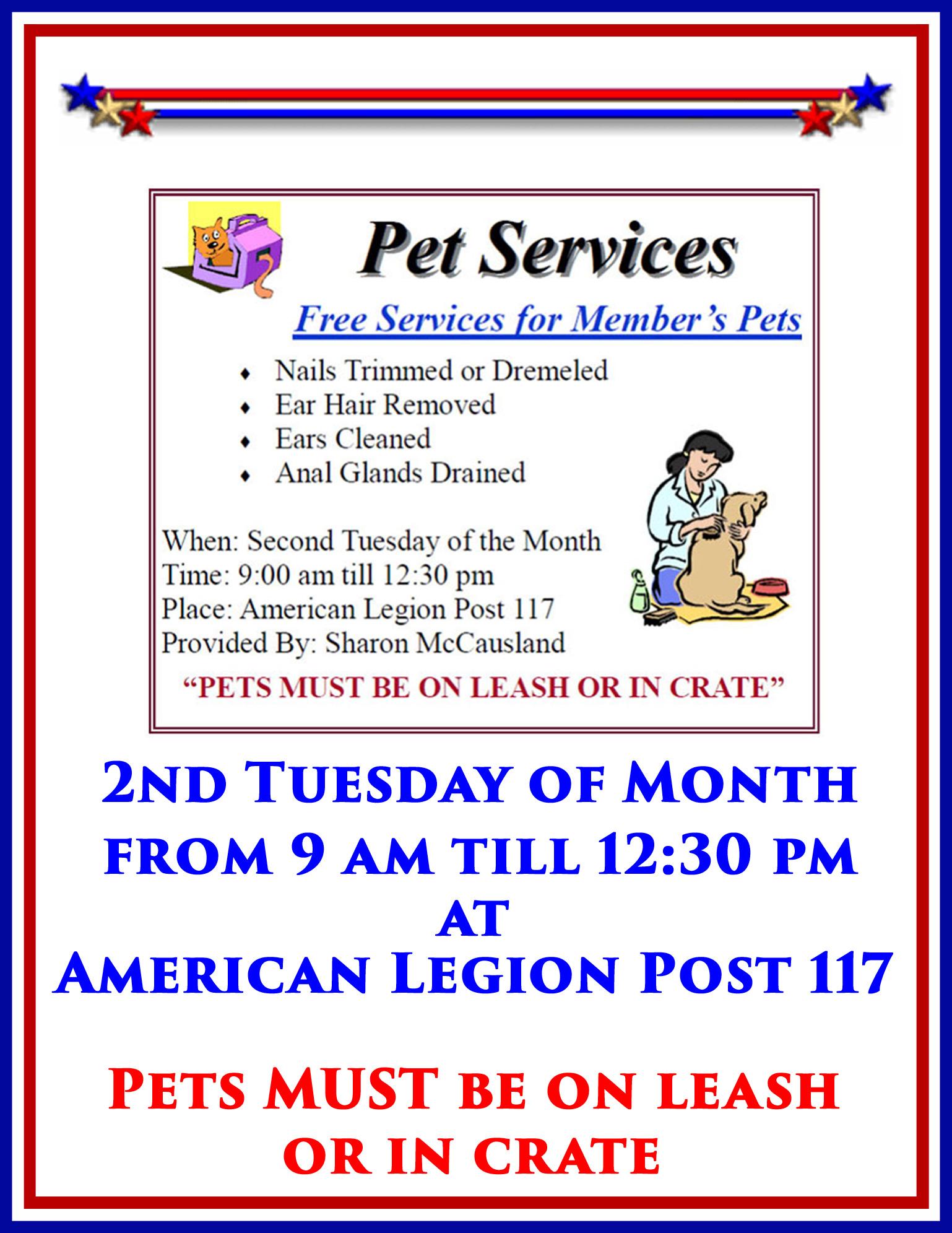 Pet Services @ American Legion Post 117, Charles F. Thomas IV   Palm Bay   Florida   United States