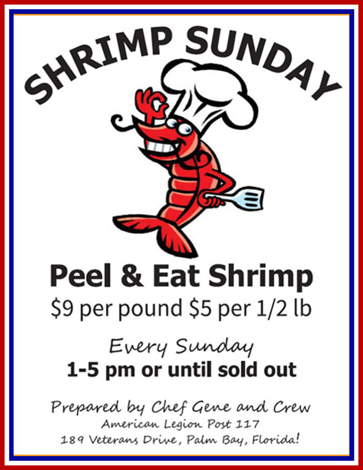 Shrimp Sunday @ American Legion Post 117, Charles F. Thomas IV | Palm Bay | Florida | United States