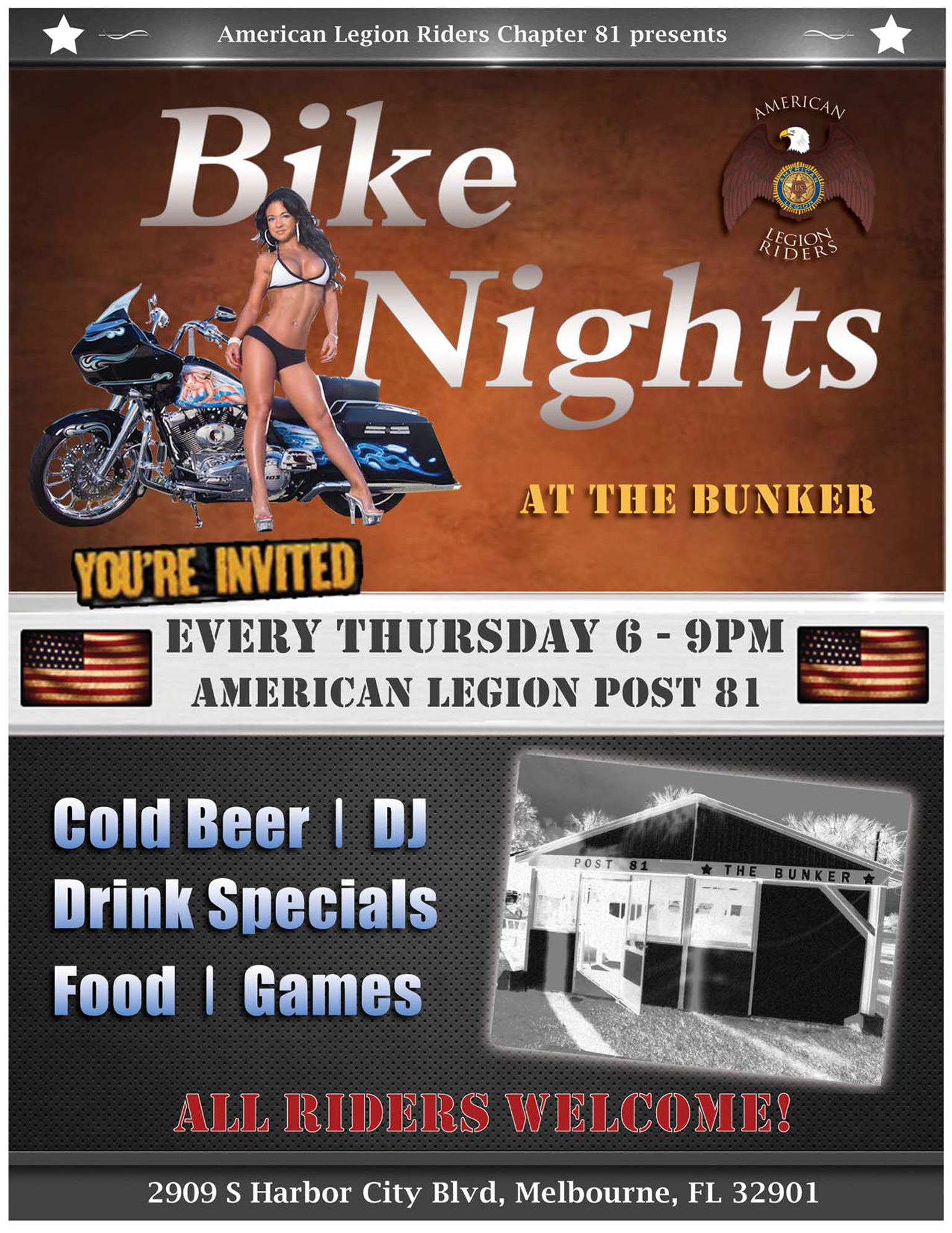 Bike Nights at the Bunker @ American Legion Post 81 | Melbourne | Florida | United States